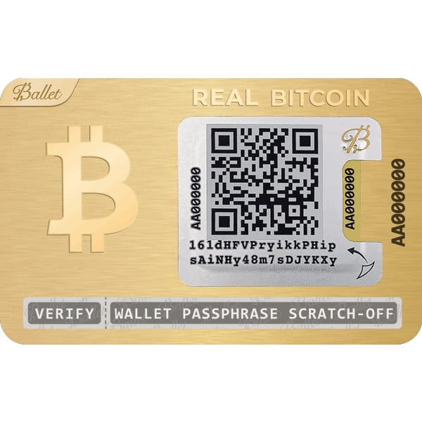 Ballet REAL Bitcoin Wallet 24K Gold Plated